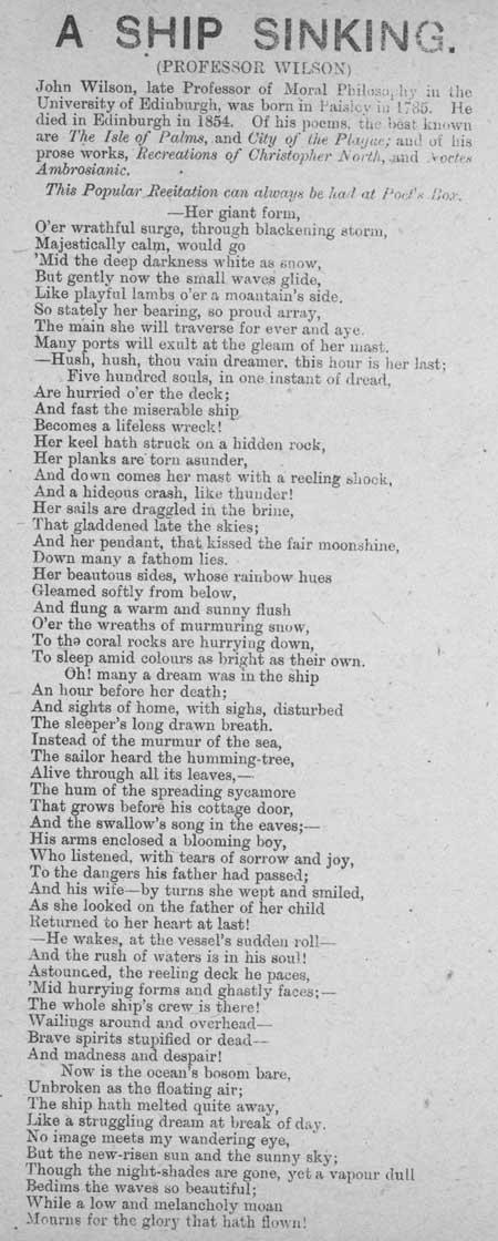 Broadside recitation entitled 'A Ship Sinking'