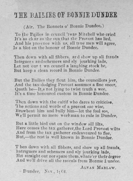 Broadside ballad entitled 'The Bailies of Bonnie Dundee'