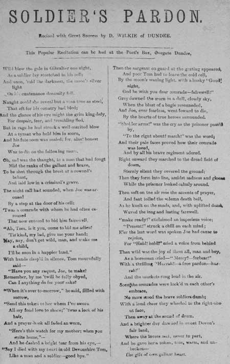 Broadside ballad entitled 'Soldier's Pardon'