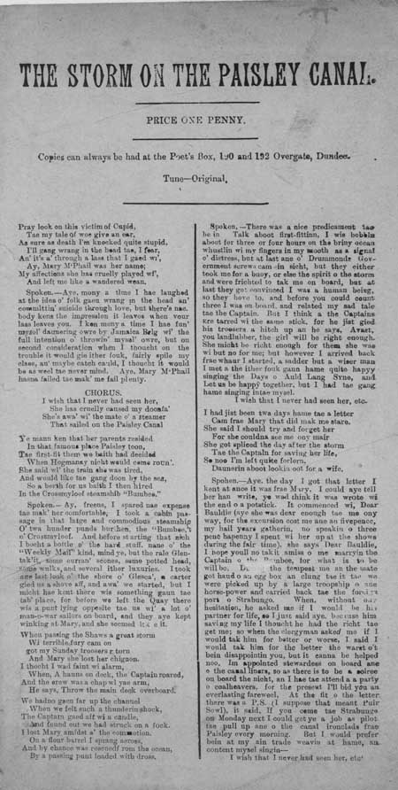 Broadside ballad entitled 'The Storm on the Paisley Canal'