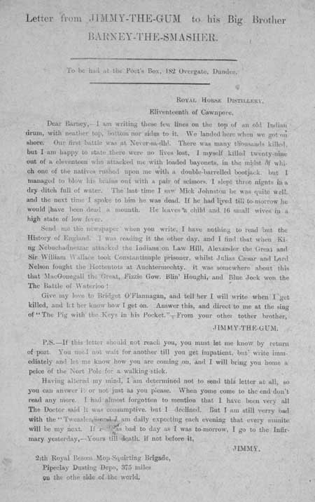 Broadside entitled 'Letter from Jimmy-the-Gum to his Big Brother Barney-the-Smasher'