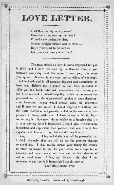 Broadside entitled 'Love Letter'