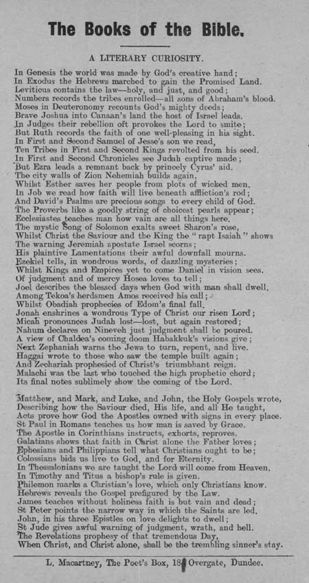 Broadside ballad entitled: 'The Books of the Bible, a Literary Curiosity'