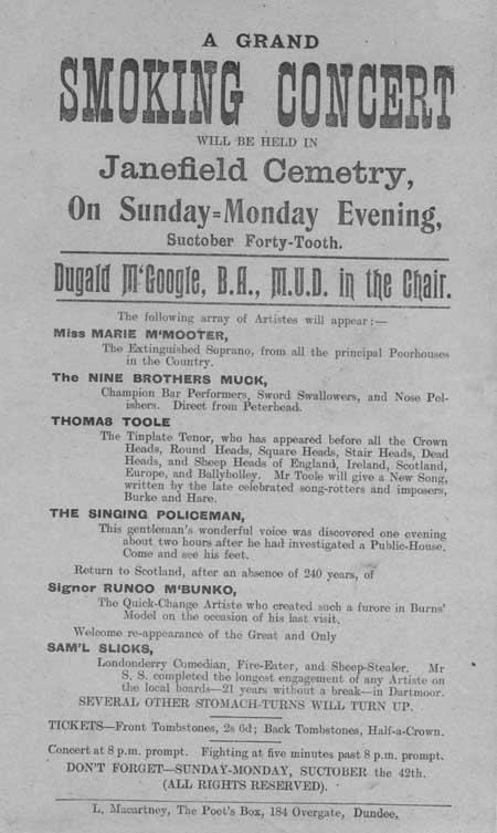 Broadside entitled 'A Grand Smoking Concert'