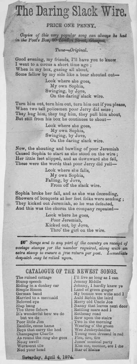 Broadside ballad entitled 'The Daring Slack Wire'