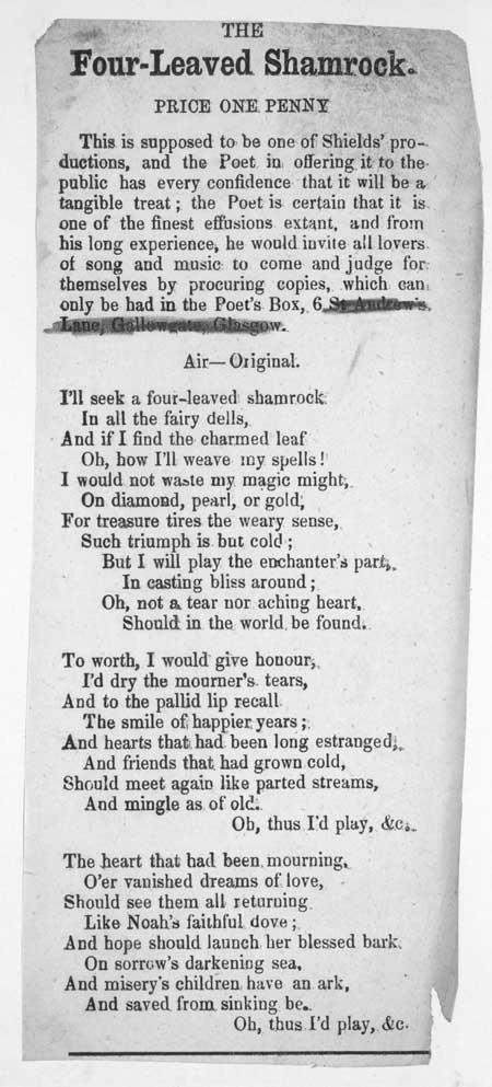 Broadside ballad entitled 'The Four-leaved Shamrock'