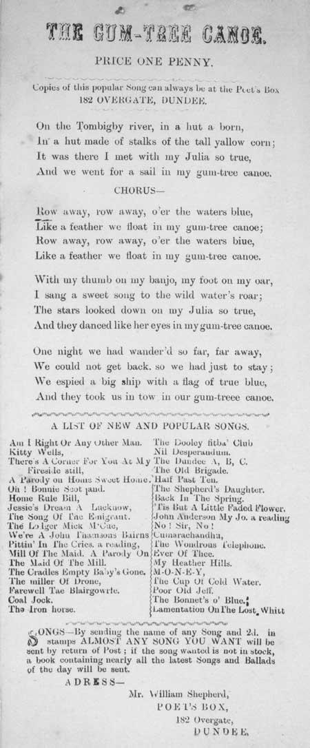 Broadside ballad entitled 'The Gum-tree Canoe'