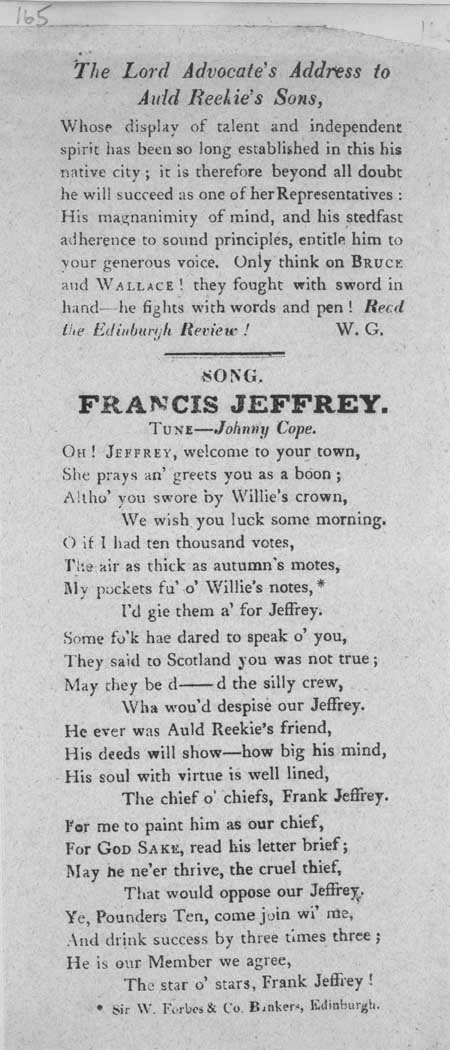 Broadside entitled ' The Lord Advocate's Address to Auld Reekie's Sons' and the ballad 'Francis Jeffrey'