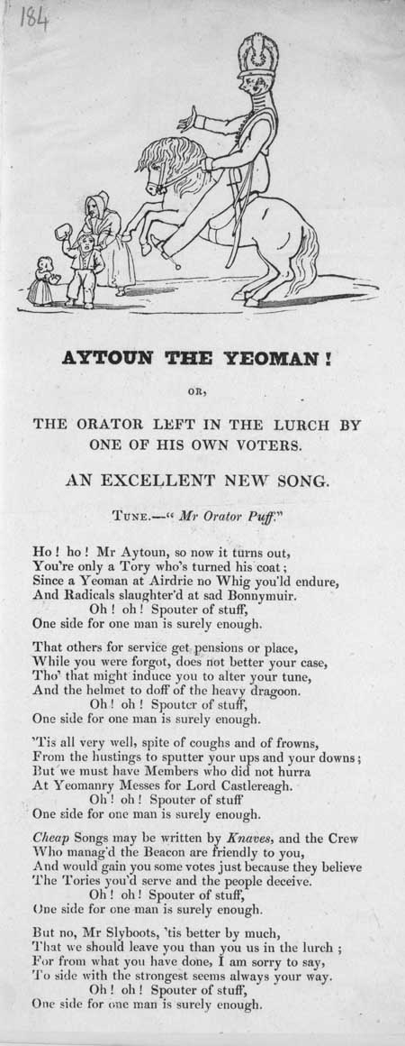 Broadside ballad entitled 'Aytoun the Yeoman!, or, The Orator Left in the Lurch by one of his Own Voters'
