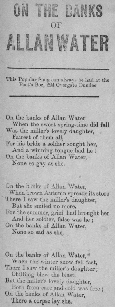 Broadside ballad entitled 'On the Banks of Allan Water'