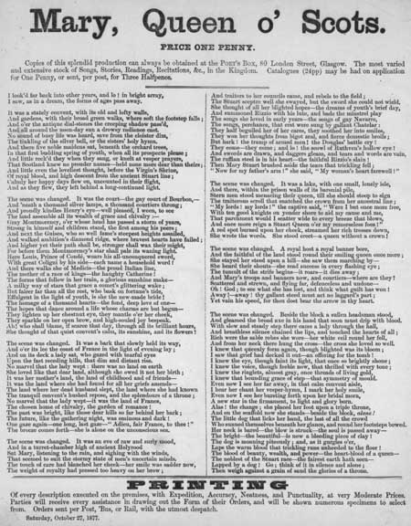 Broadside poem entitled 'Mary, Queen o' Scots'