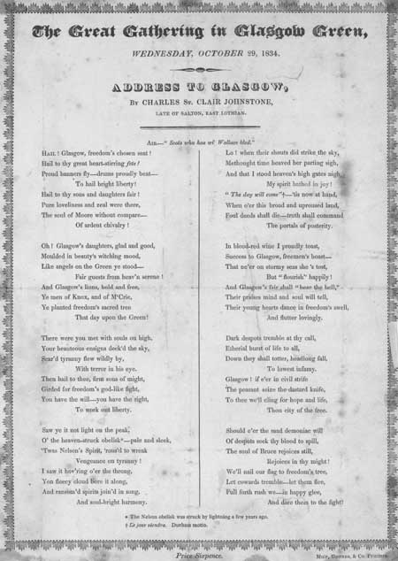 Broadside ballad entitled 'The Great Gathering in Glasgow Green, Wednesday, October 29, 1834'