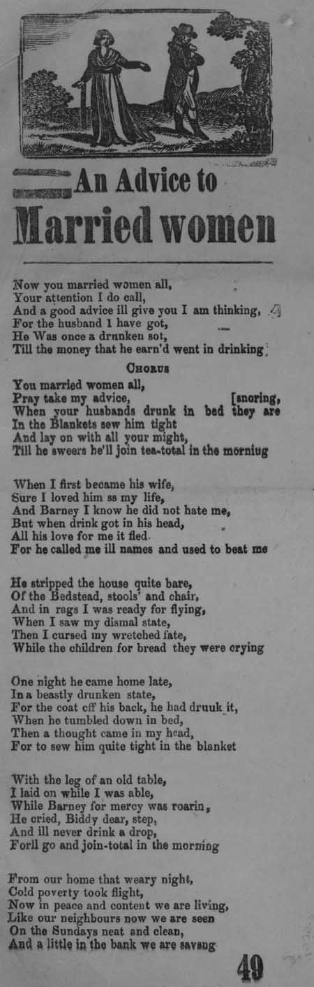 Broadside ballad entitled 'An Advice to Married Women'