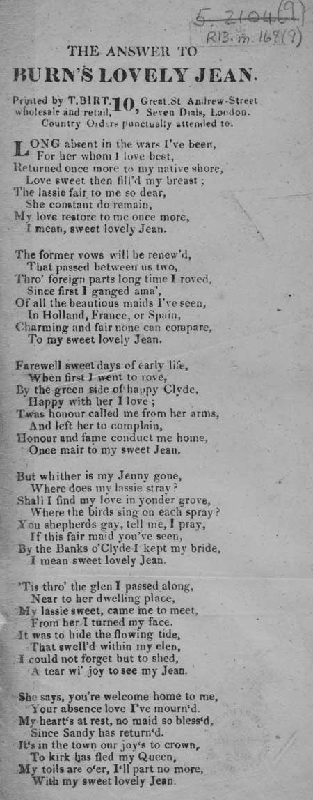 Broadside ballad entitled 'The Answer to Burn's Lovely Jean'