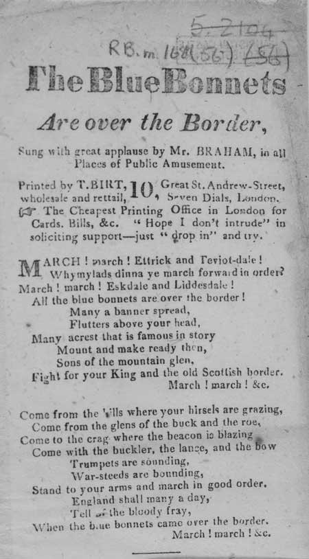 Broadside ballad entitled 'Blue Bonnets Are Over the Border'