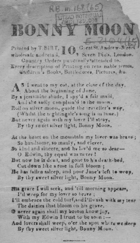 Broadside ballad entitled 'Bonny Moon'