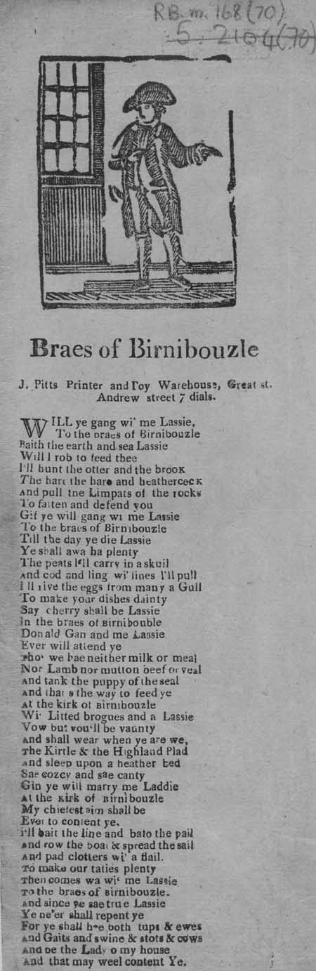 Broadside ballad entitled 'Braes of Birnibouzle'