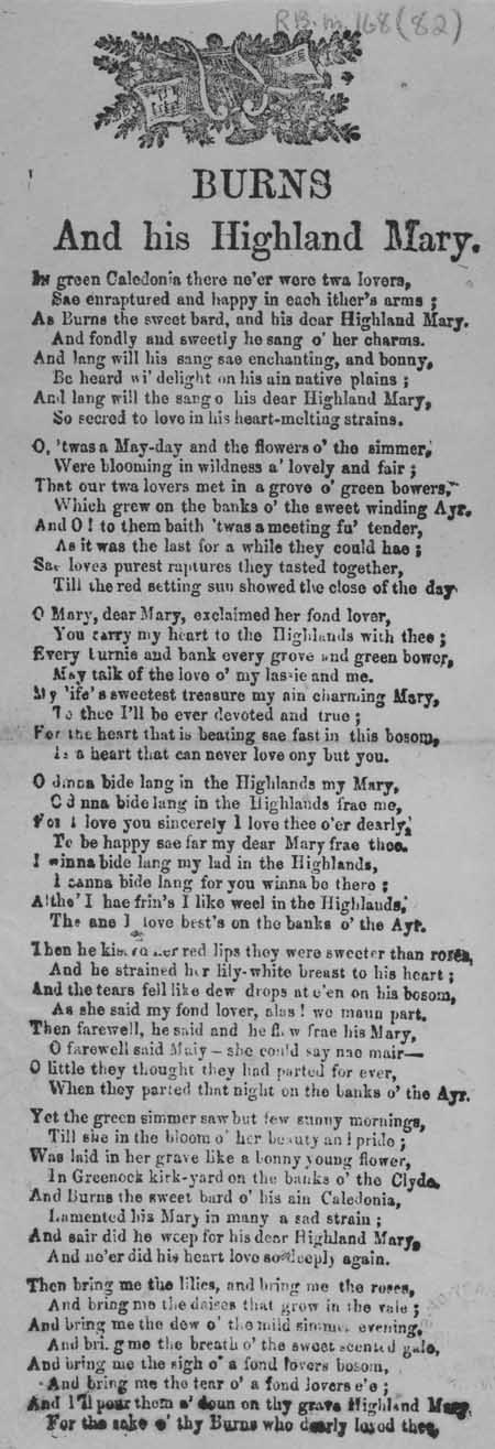 Broadside ballad entitled 'Burns and his Highland Mary'
