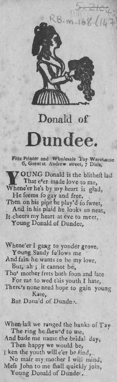 Broadside ballad entitled 'Donald of Dundee'