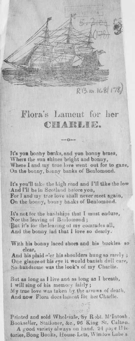 Broadside ballad entitled 'Flora's Lament for her Charlie'