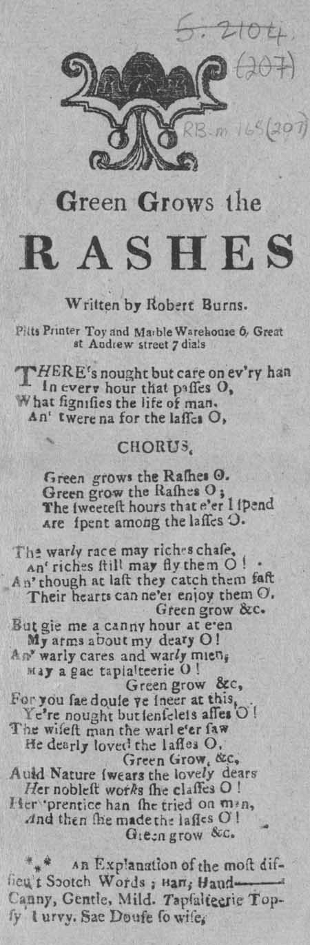 Broadside ballad entitled 'Green Grow the Rashes'