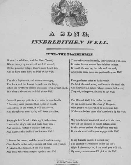 Broadside ballad entitled 'A Song, Innerleithen Well'