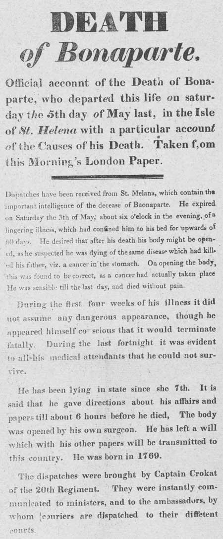 Broadside entitled 'Death of Bonaparte'