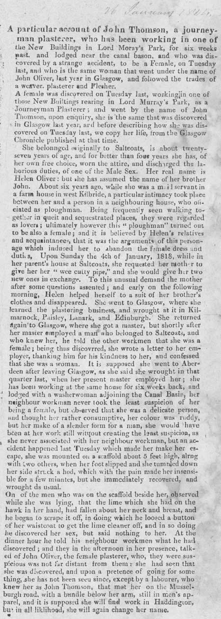 Broadside report regarding a woman who masqueraded as a man, c. 1820