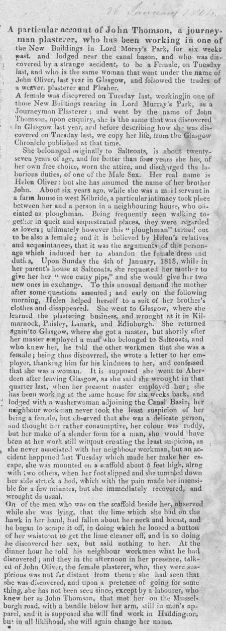 Broadside report regarding a woman who masqueraded as a man, c. 1820