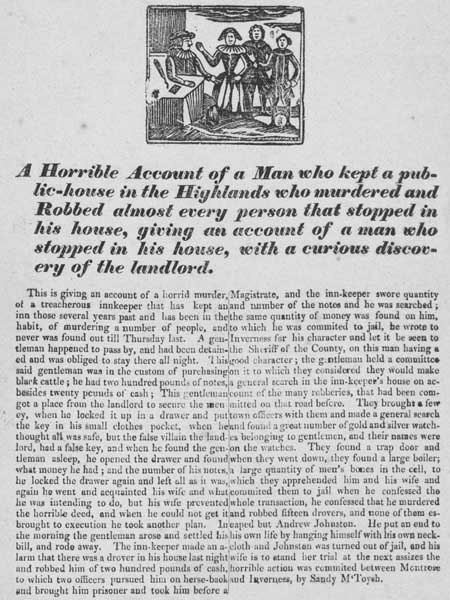 Broadside report of a murdering publican in the Scottish Highlands, nineteenth century
