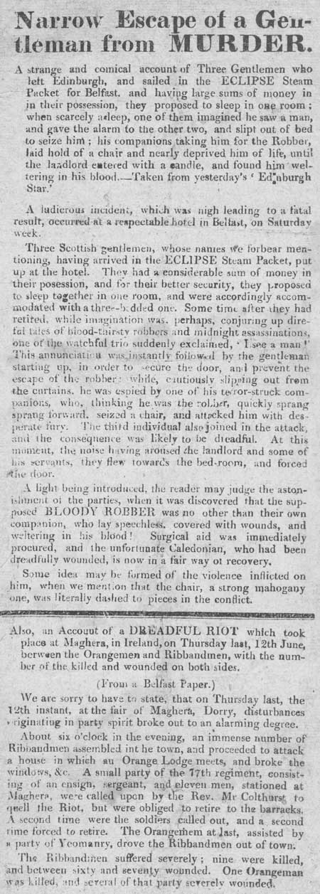 Broadside entitled 'Narrow Escape of a Gentleman from Murder'
