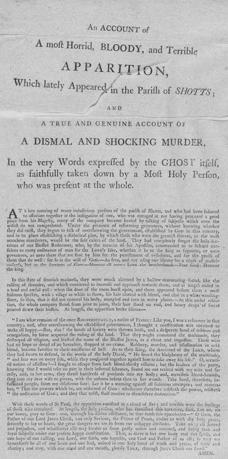 Broadside entitled 'An Account of a Most Horrid, Bloody and Terrible Apparition'