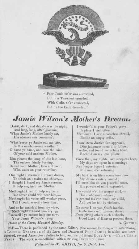 Broadside ballad entitled 'Jamie Wilson's Mother's Dream'