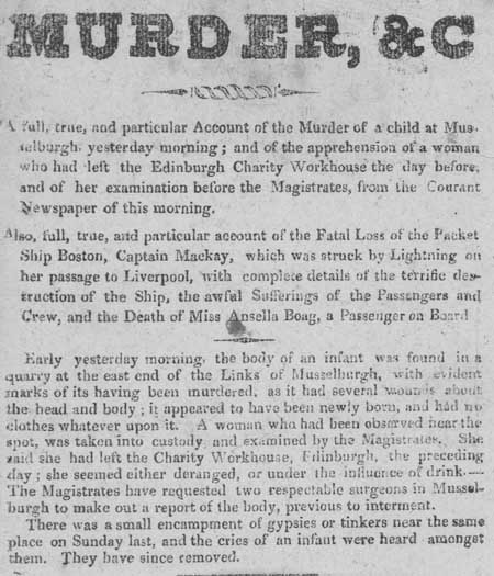 Broadside entitled 'Murder, &c.', Musselburgh Links