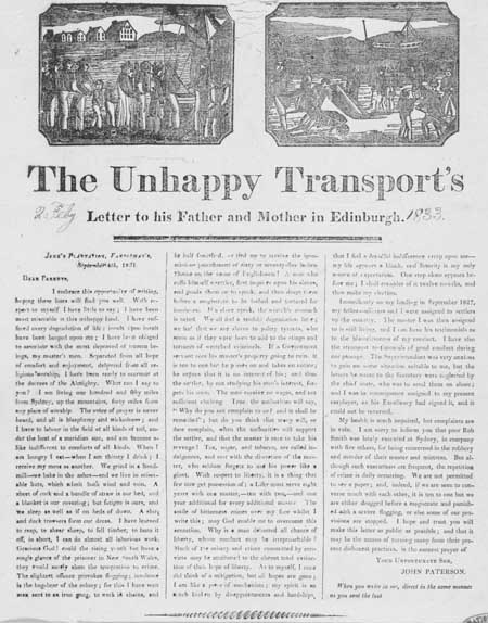 Broadside entitled 'The Unhappy Transport's Letter to his Father and Mother in Edinburgh'