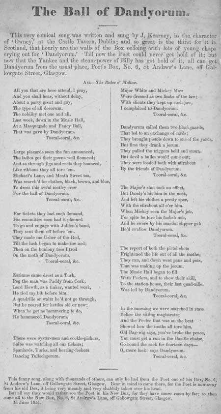 Broadside ballad entitled 'The Ball of Dandyorum'