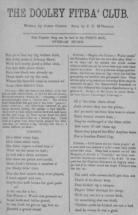 Broadside ballad entitled 'The Dooley Fitba' Club'