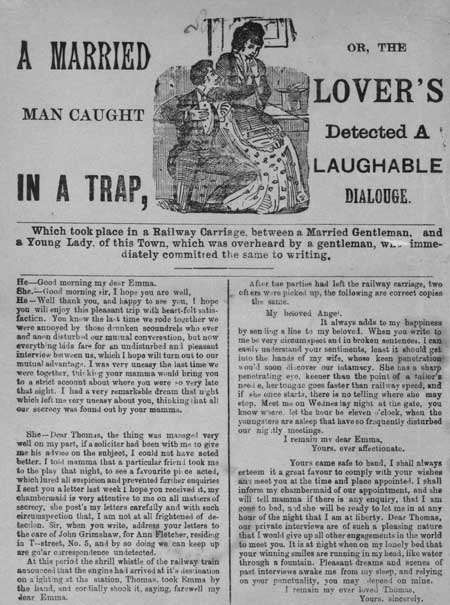 Broadside regarding a dialogue between a married man and a young woman