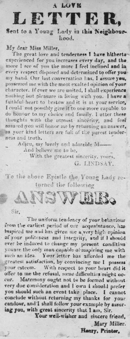Broadside detailing a love letter