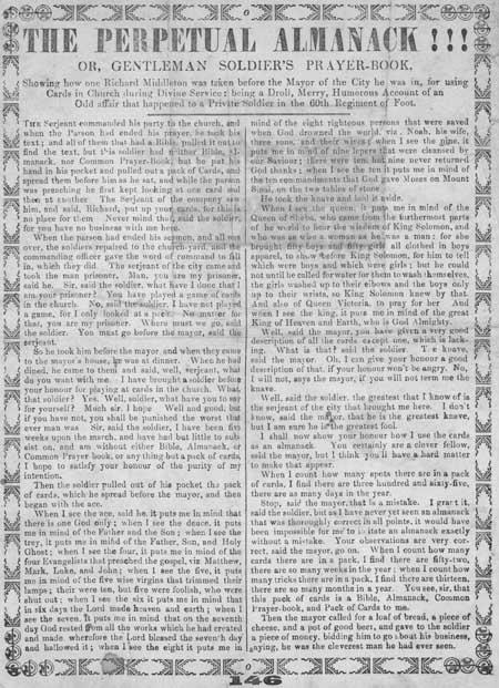 Broadside entitled 'The Perpetual Almanack!!! Or, Gentleman Soldier's Prayer-book'