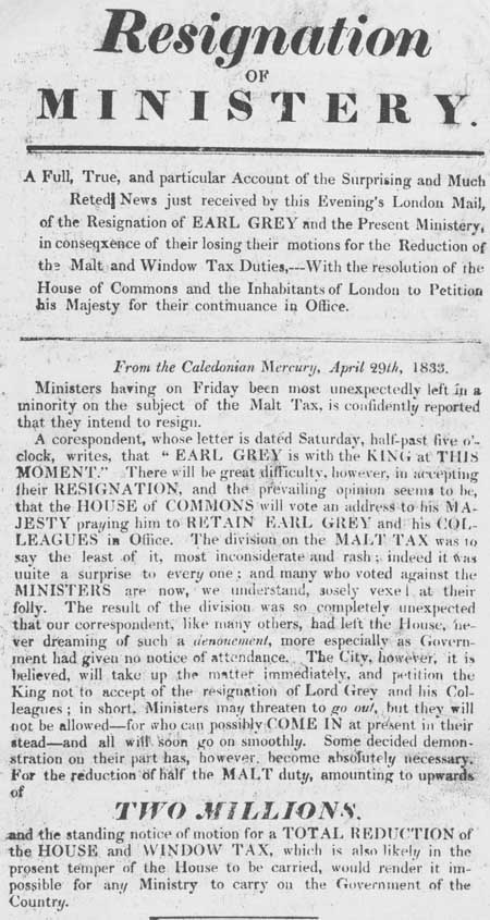 Broadside entitled 'Resignation of Ministery'