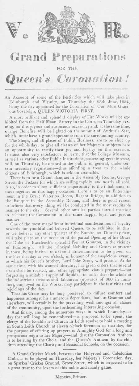 Broadside entitled 'Grand Preparations for the Queen's Coronation'