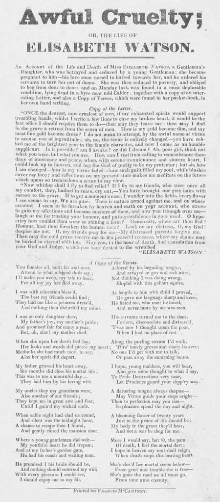 Broadside entitled 'Awful Cruelty; or, the life of Elisabeth Watson'