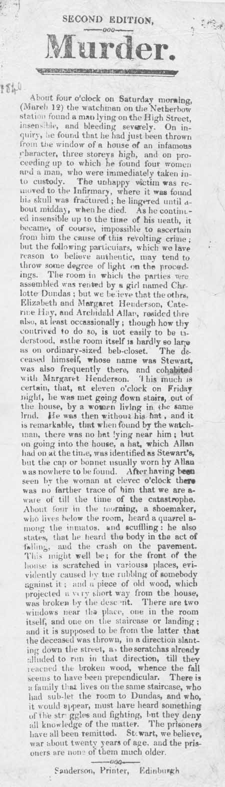 Broadside concerning the murder of a man in Edinburgh