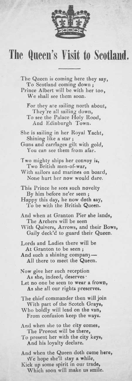 Broadside ballad entitled 'The Queen's Visit to Scotland'