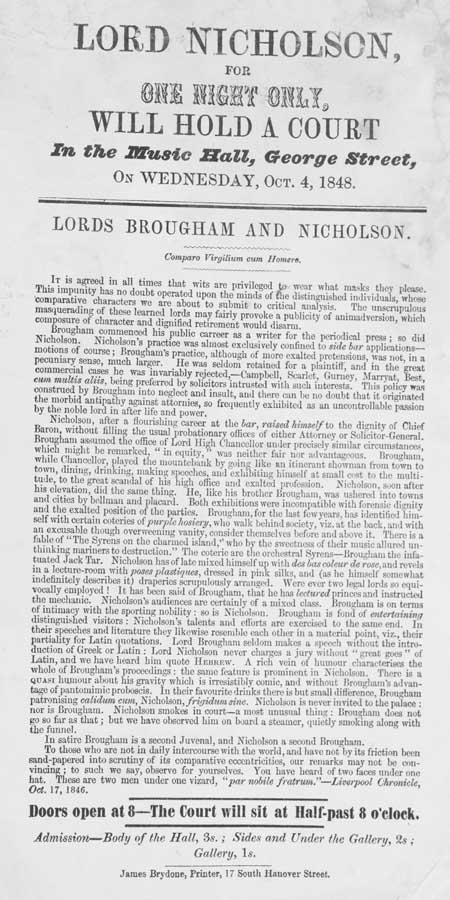 Broadside concerning Lord Nicholson's Court