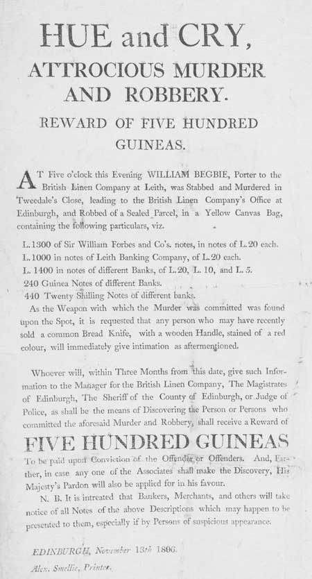 Broadside entitled 'Hue and Cry, Atrocious Murder and Robbery'