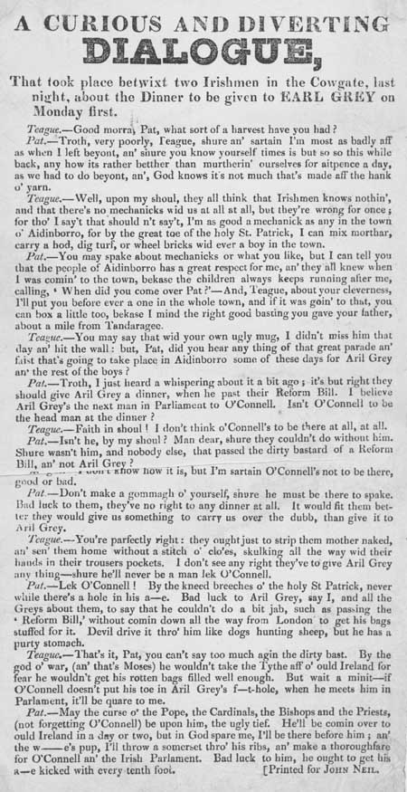 Broadside entitled 'A Curious and Diverting Dialogue'