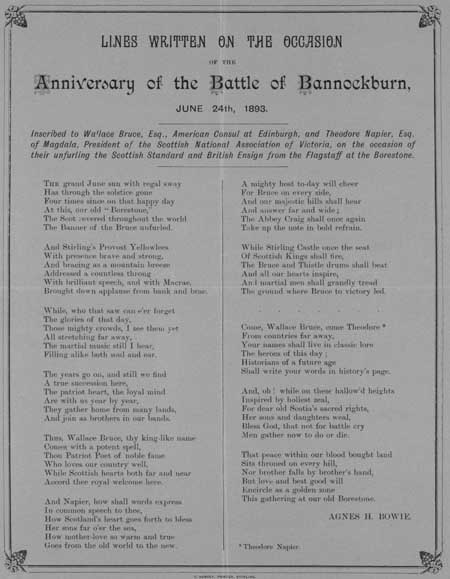 Broadside ballad entitled 'Lines Written on the Occasion of the Anniversary of the Battle of Bannockburn'