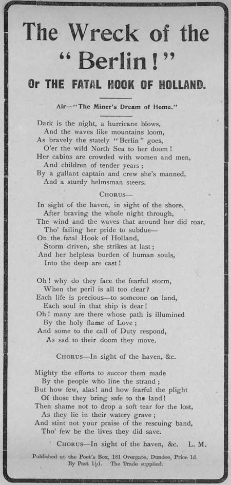 Broadside ballad entitled 'The Wreck of the